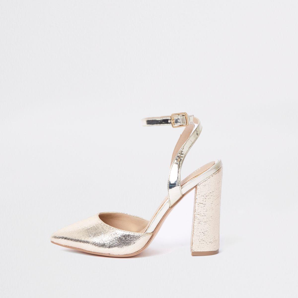 Gold metallic wide fit block heel courts