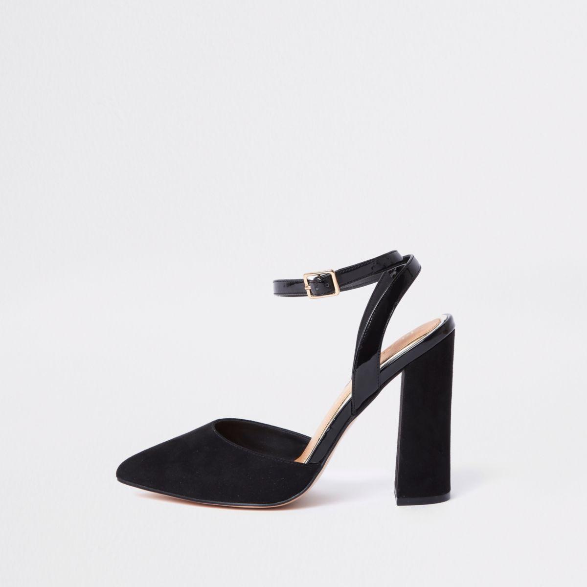 Black wide fit block heel courts