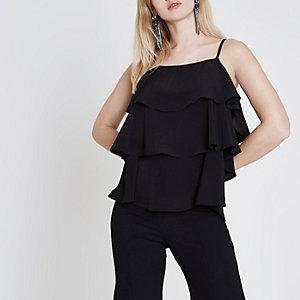 Schwarzes Camisole mit Rüschen