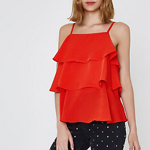 Red tiered frill cami top