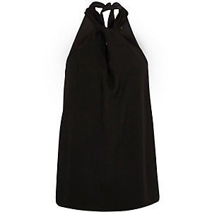 Zwarte mouwloze top met halternek