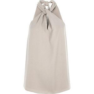 Grey halter neck sleeveless top