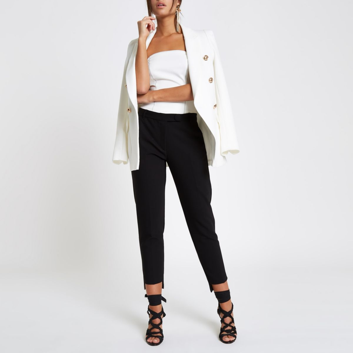 Black stepped hem cigarette trousers