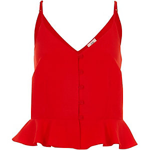 Bright red frill hem cropped cami top
