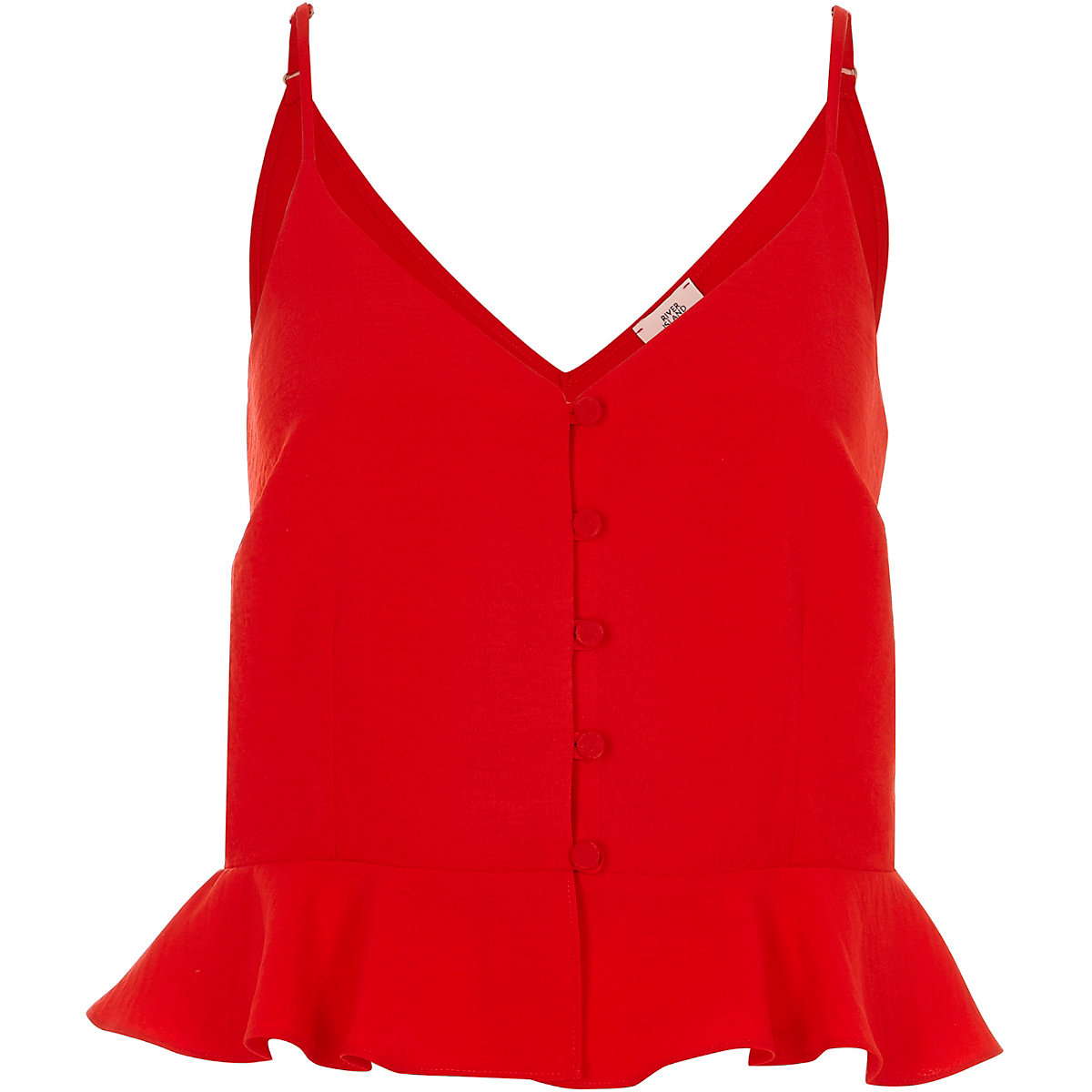 4e92bb8395ea44 Bright red frill hem cropped cami top - Cami   Sleeveless Tops - Tops -  women