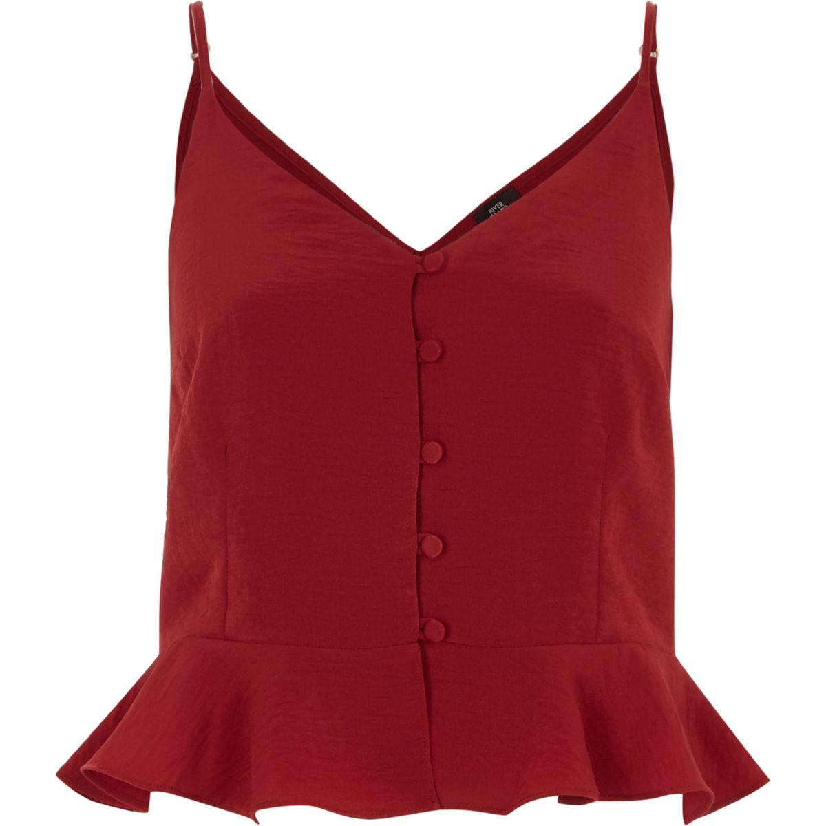 Dark red frill hem cropped cami top