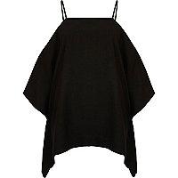 Black cape cold shoulder cami top