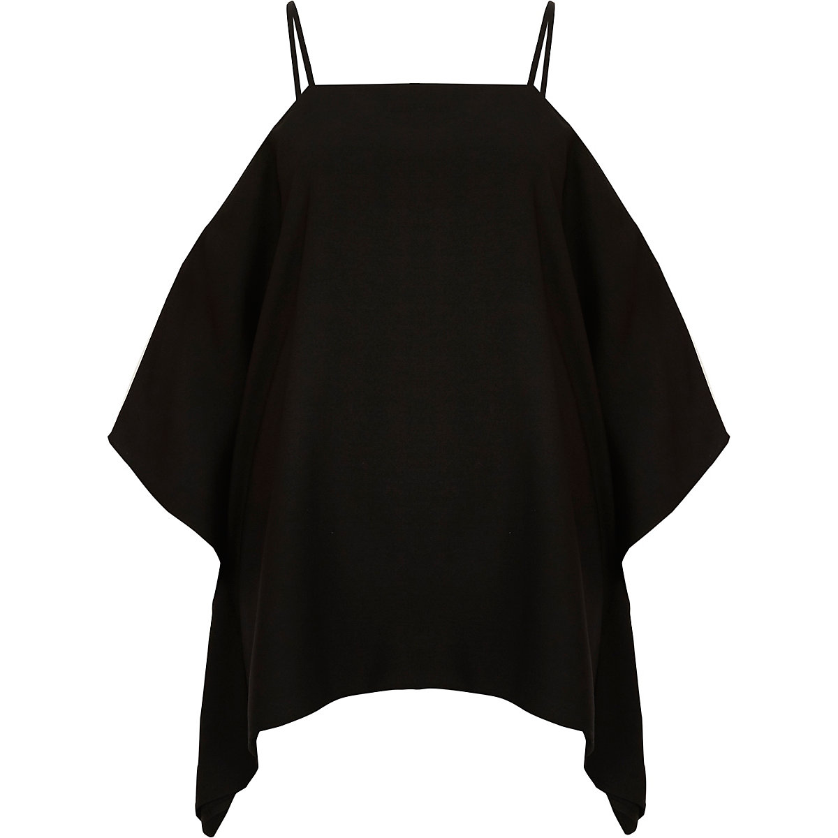Black cape cold shoulder cami top