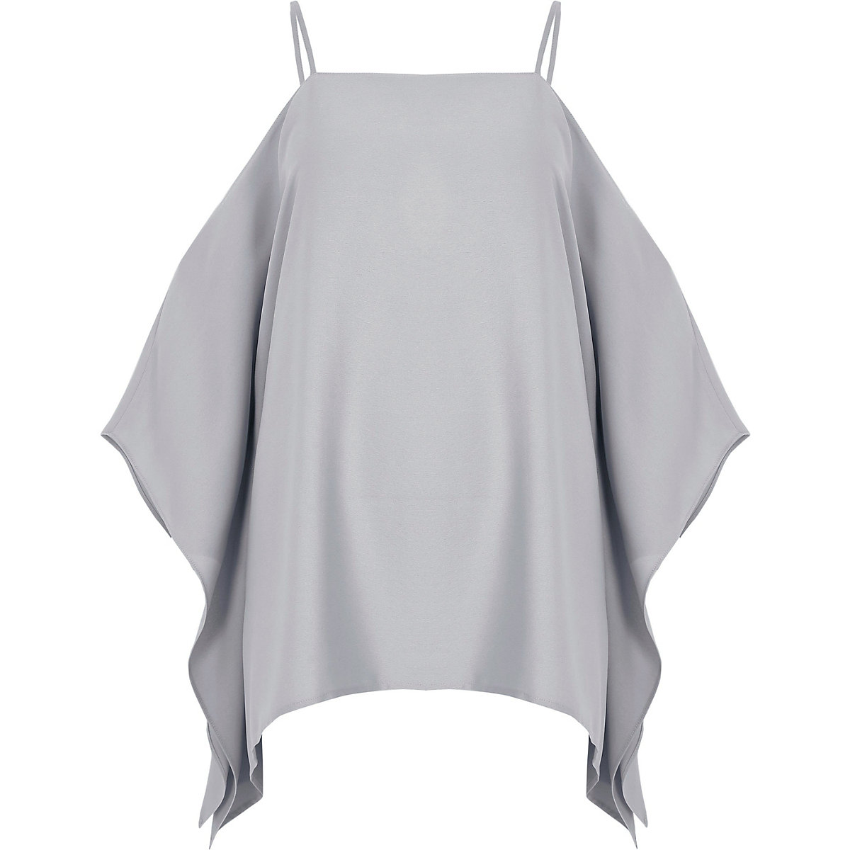 Light grey cape cold shoulder cami top