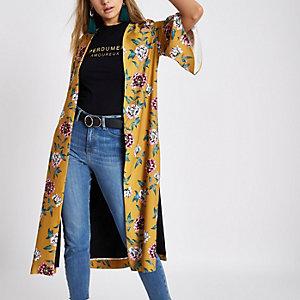 Kimono jaune moutarde à fleurs fendu sur le côté