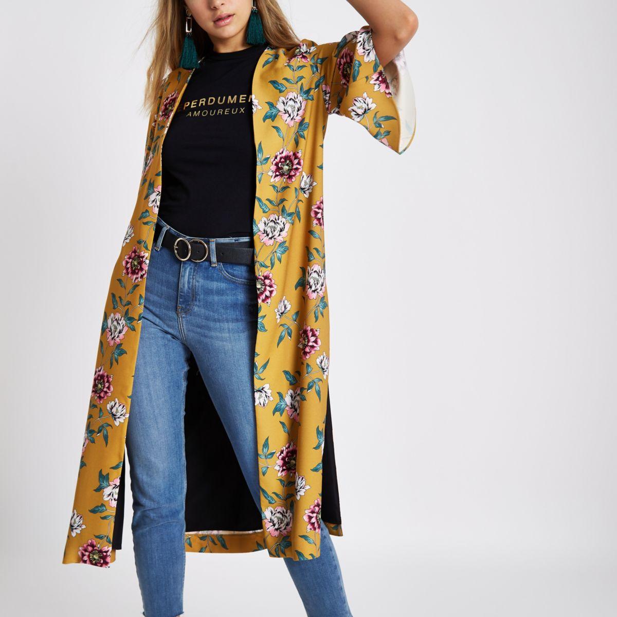 Mustard yellow floral side split kimono