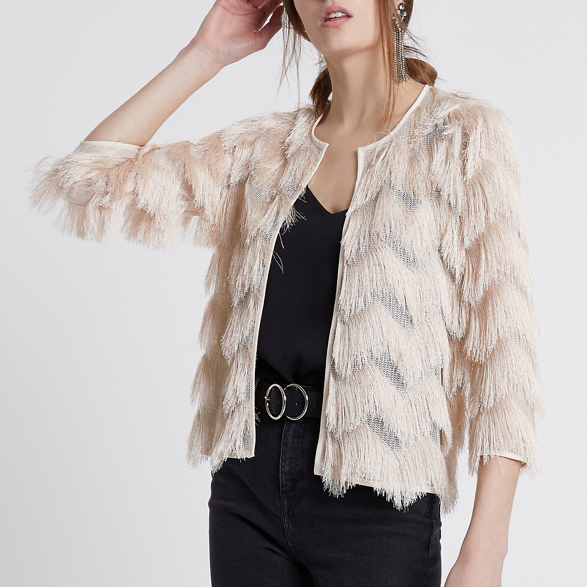 Cream fringe short jacket