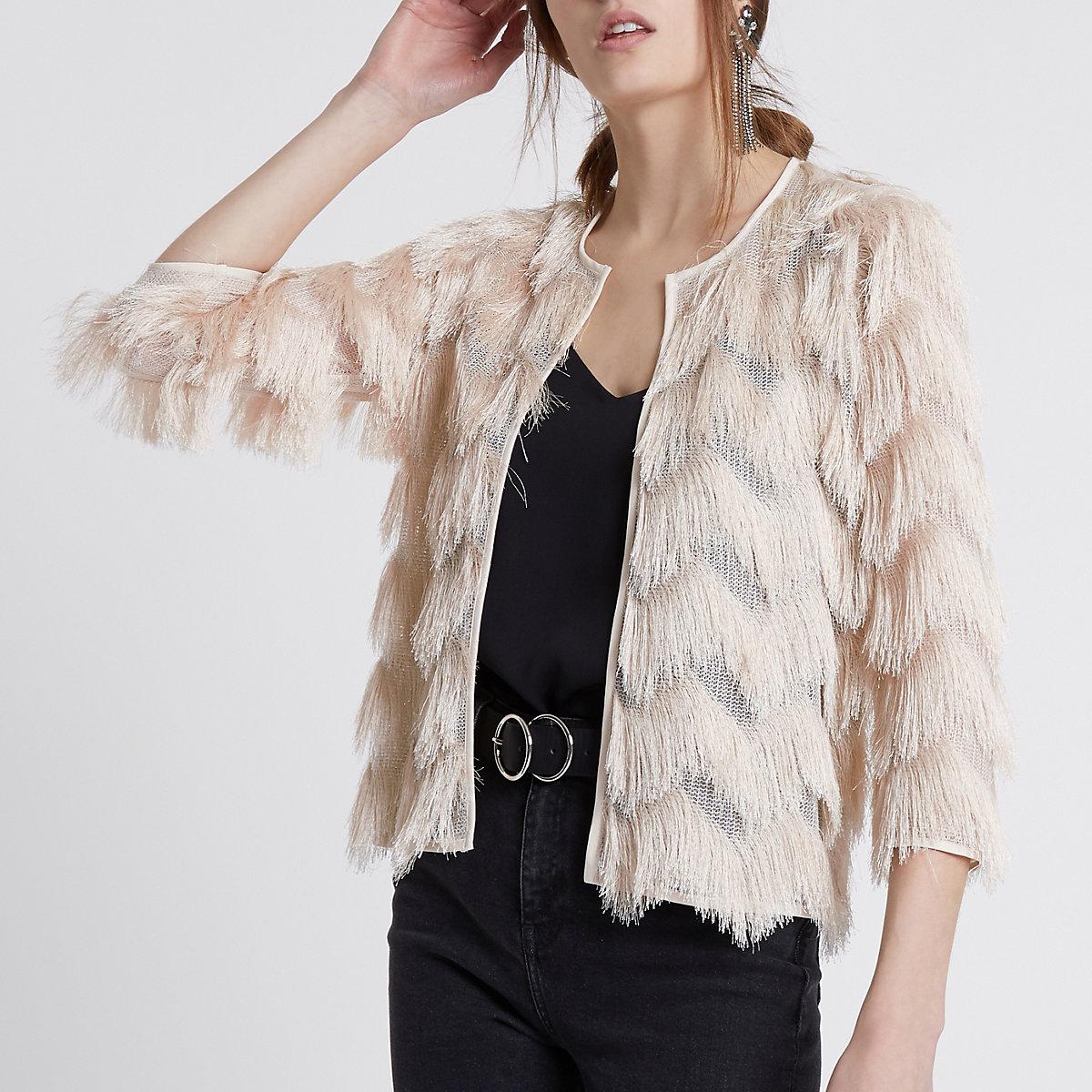 Cream fringe short jacket