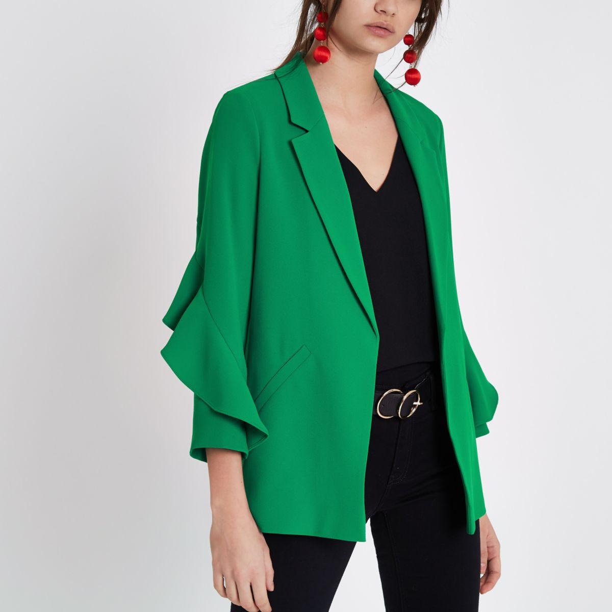 Green frill sleeve blazer