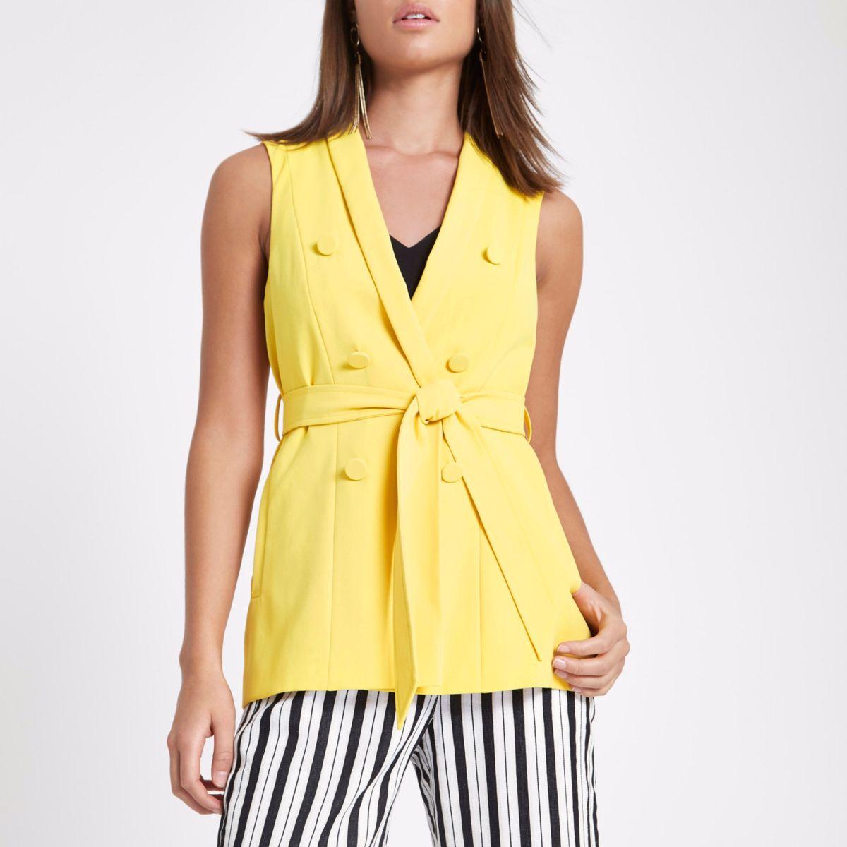 Yellow sleeveless double breasted jacket
