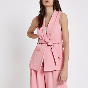 Pink sleeveless double breasted jacket