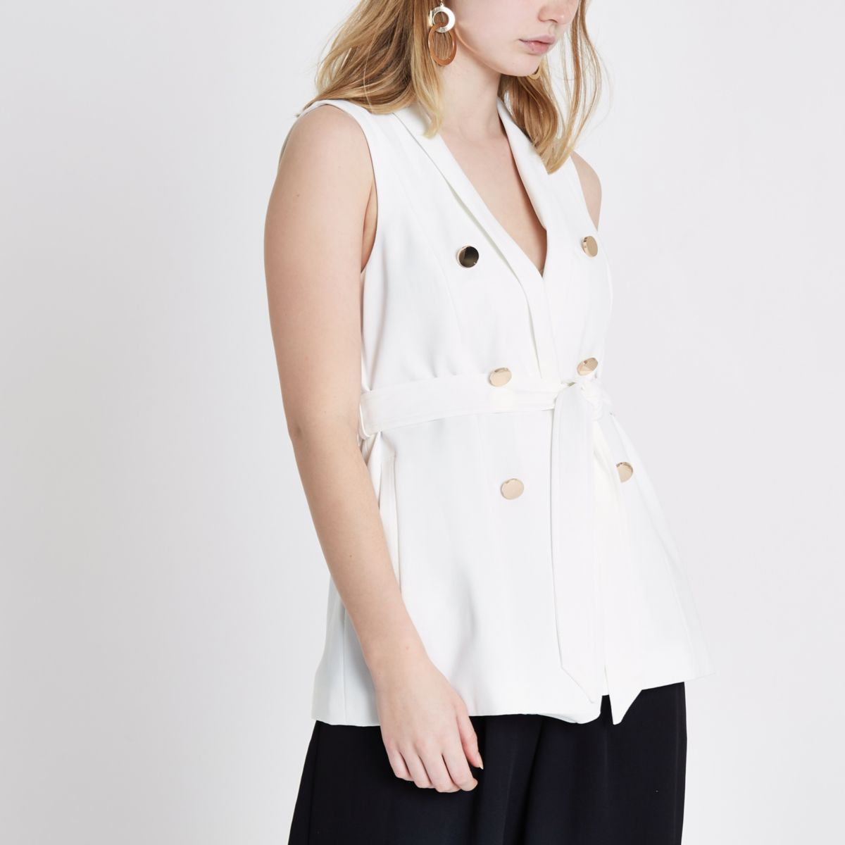 White sleeveless double breasted jacket