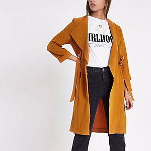 Orange D-ring strap duster coat