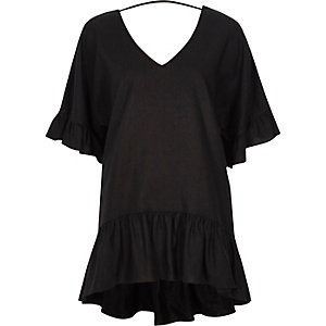 Black V neck loose peplum T-shirt