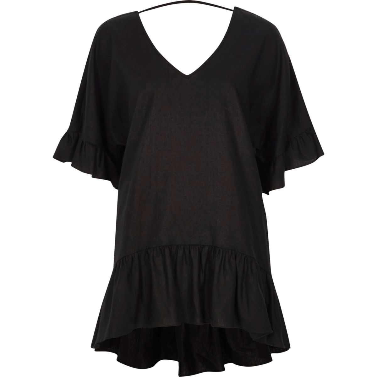 Black V neck loose peplum T-shirt