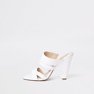 White open toe cone heel mule