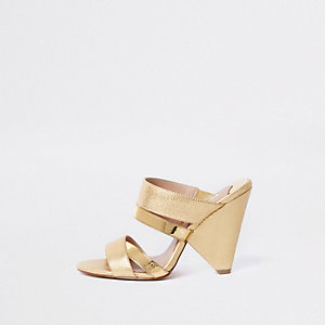 Gold open toe cone heel mule
