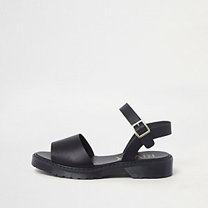 Sandales noires à semelle épaisse