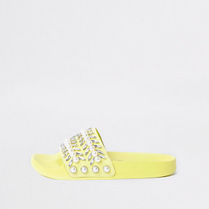 Lime green jewel embellished sliders