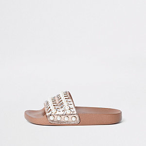 Bronskleurige slippers met imitatieparels