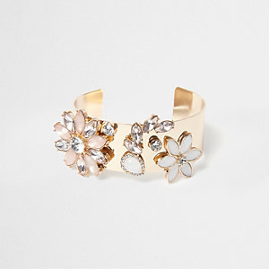 Gold tone floral jewel cuff bracelet