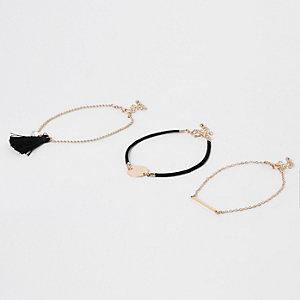 Black gold tone tassel anklet multipack
