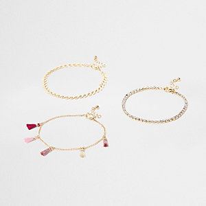 Pink tassel and rhinestone anklet multipack