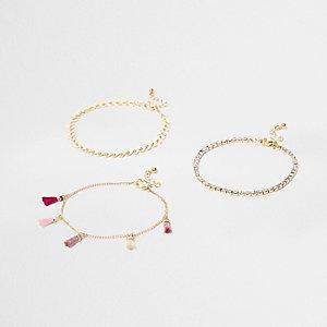 Lot de bracelets de cheville à strass et pampille rose