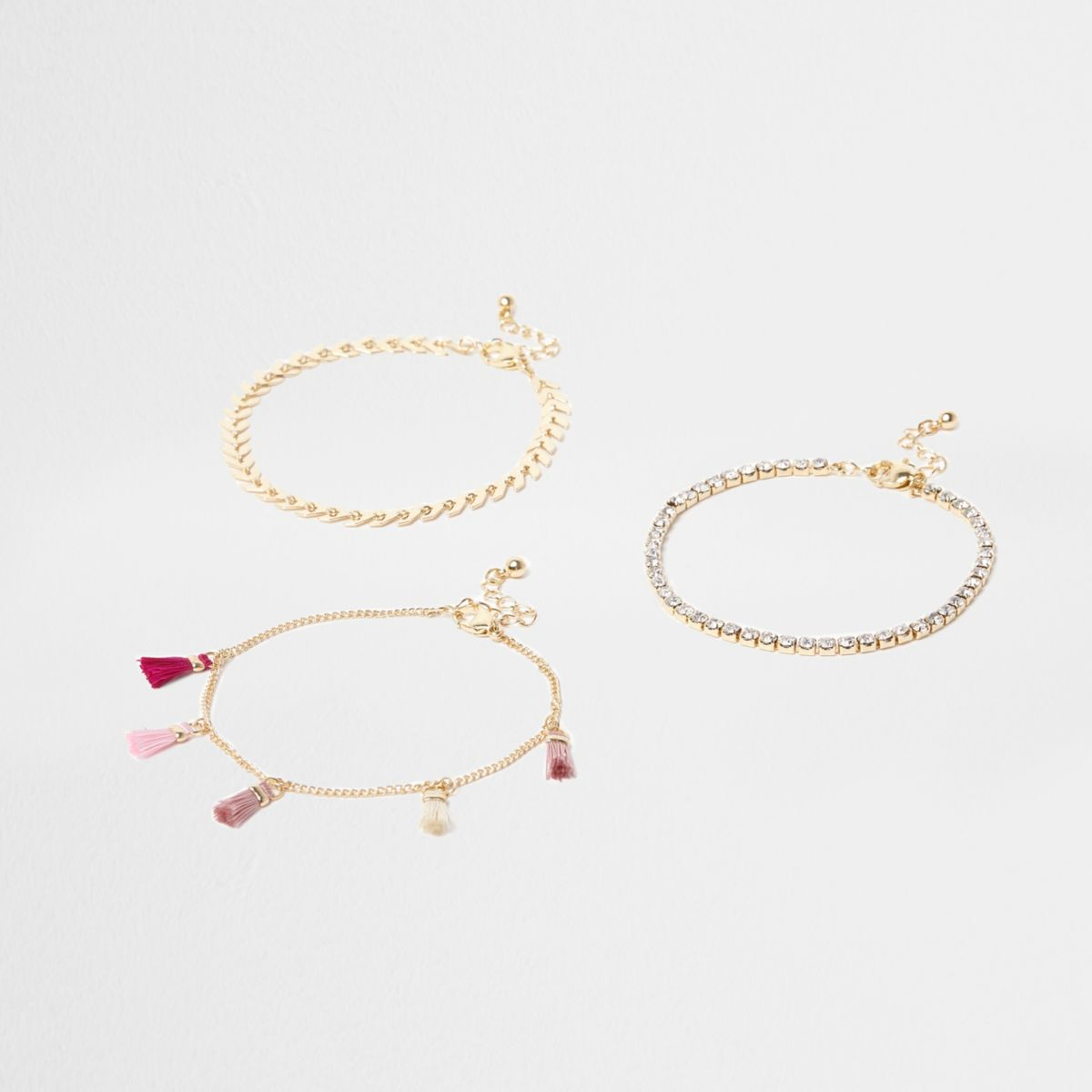 Pink tassel and diamante anklet multipack