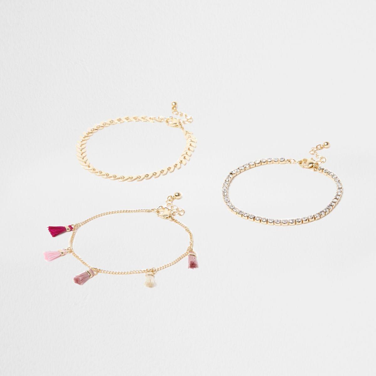 Pink tassel and rhinestone anklet multipack