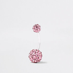 Silver tone pink diamante ball belly bar