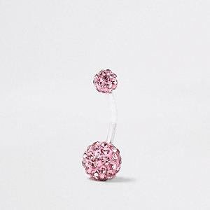 Zilverkleurige navelpiercing met roze diamantje en balletje