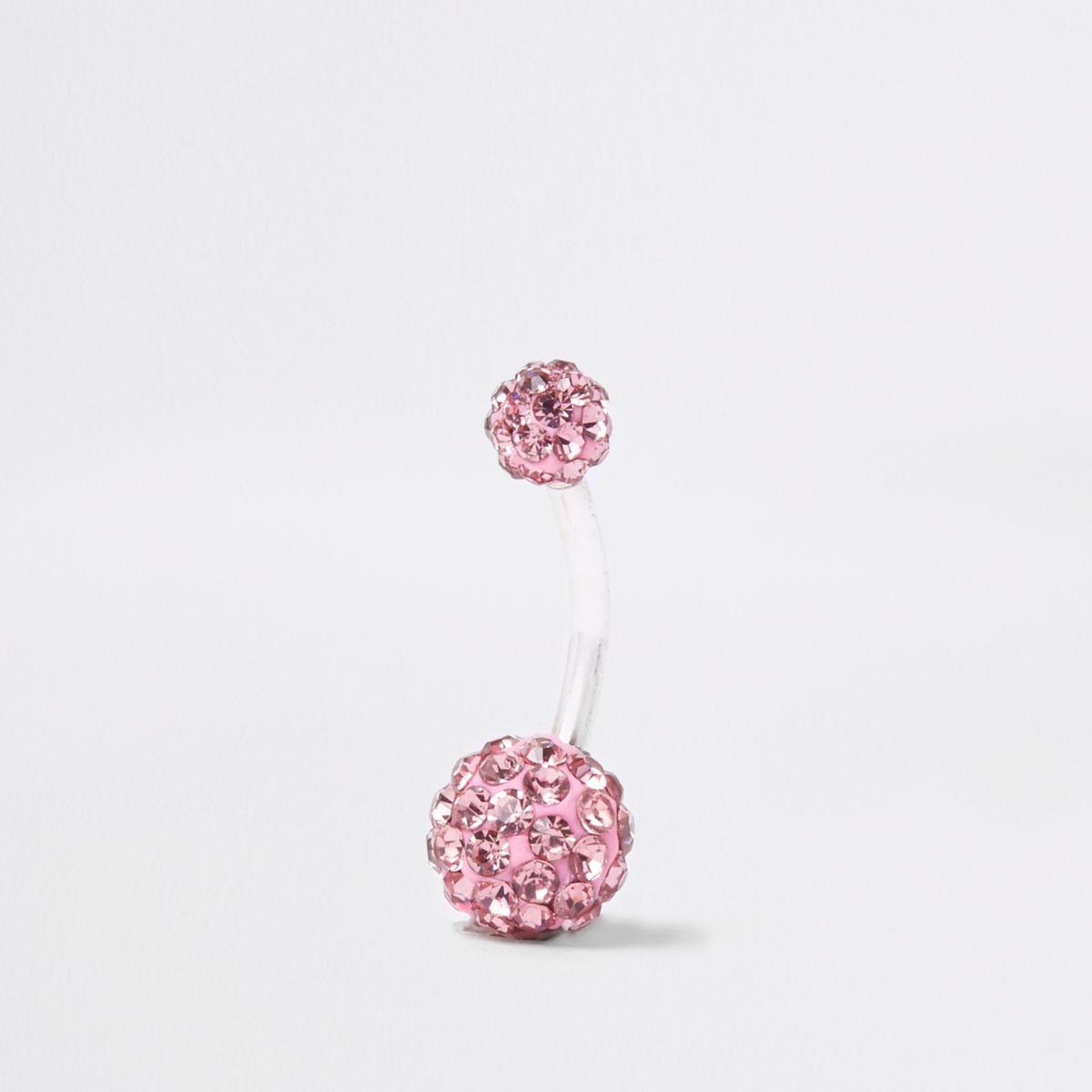 Silver tone pink diamante ball belly bar
