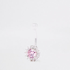 Pink floral cubic zirconia belly bar