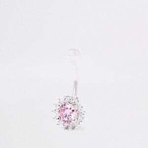 Navelpiercing met bloem en roze vierkante zirconia