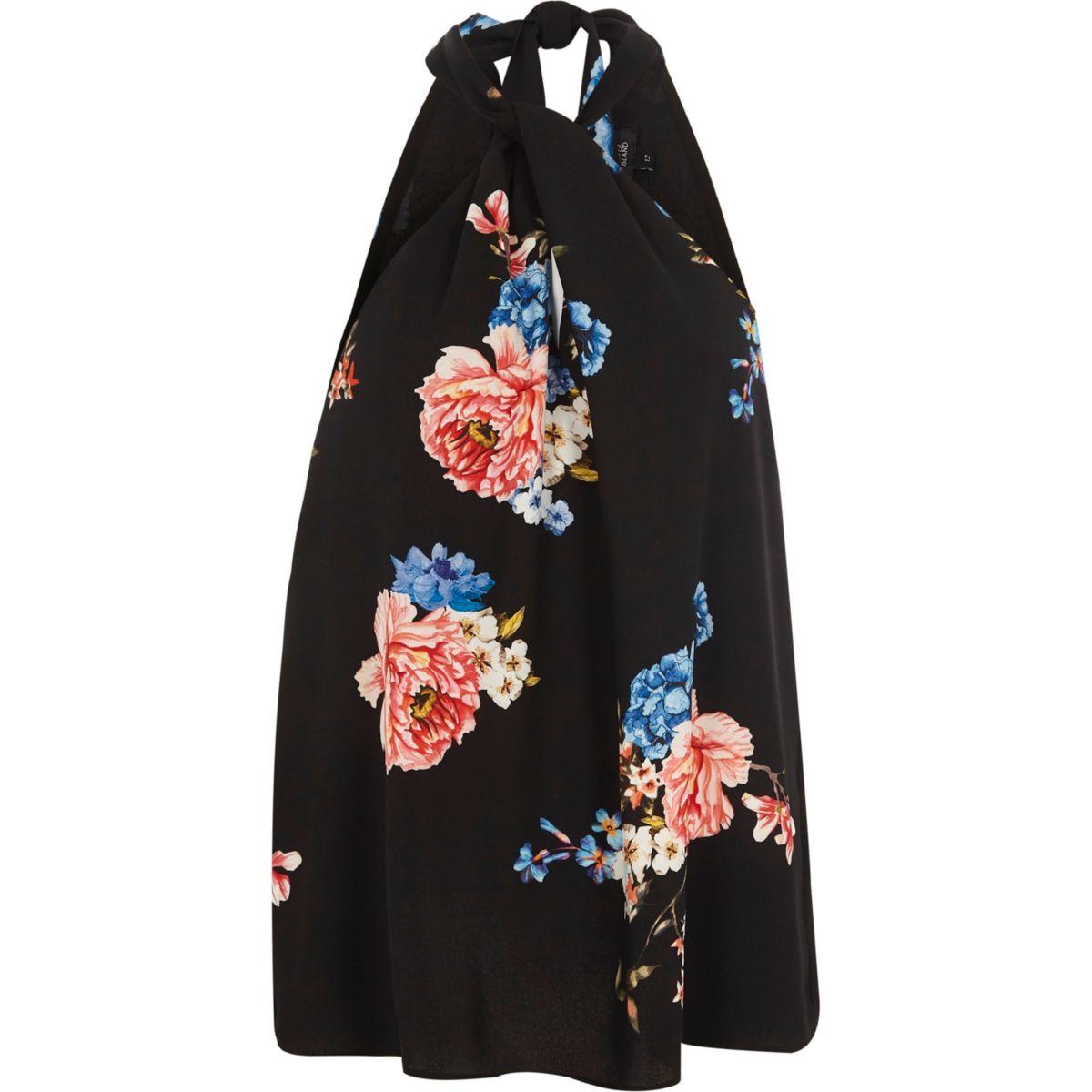 Black floral halter neck sleeve top