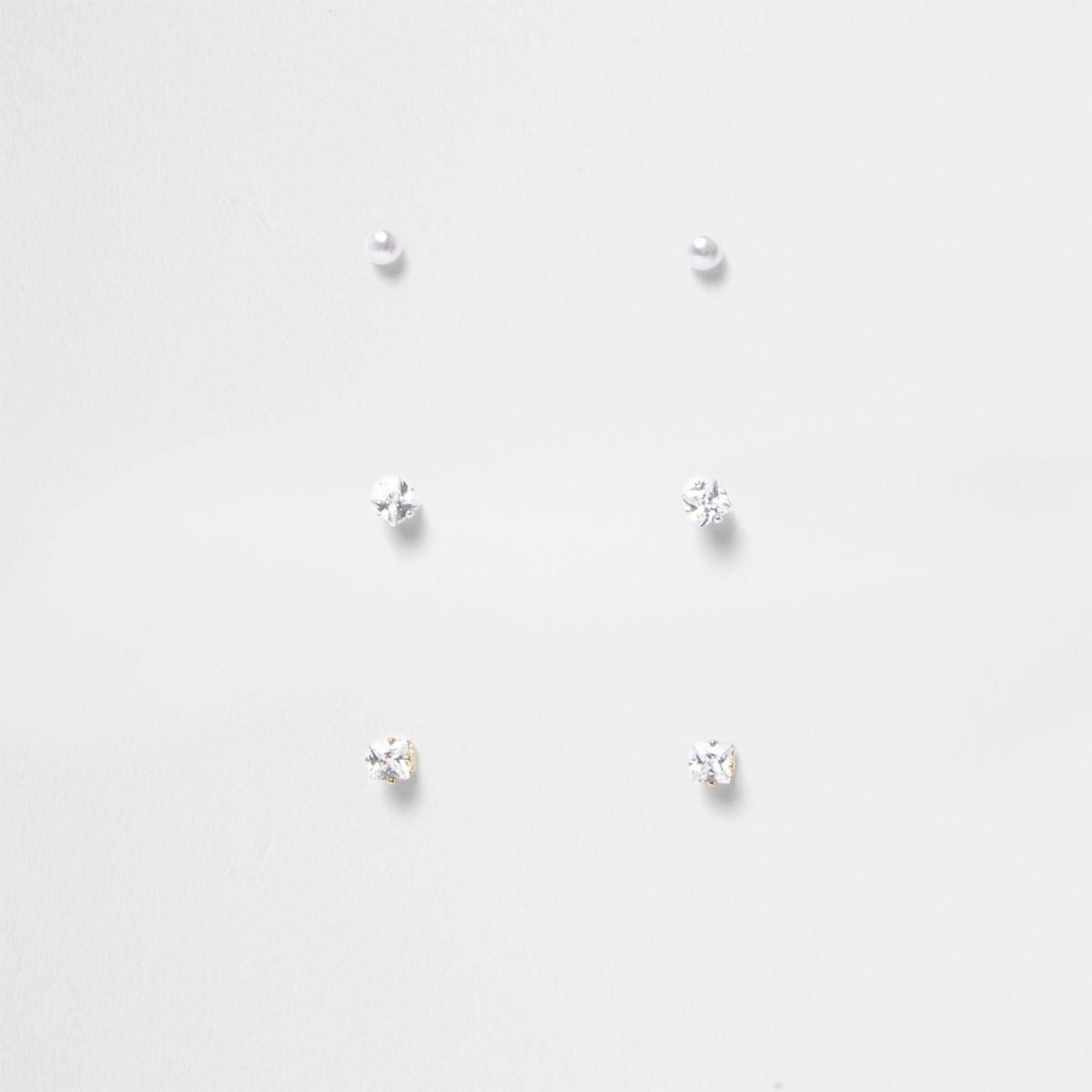 Gold tone rhinestone stud earrings