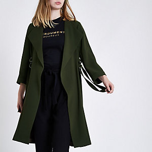 Khaki green D-ring strap duster coat
