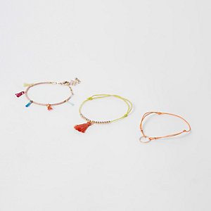 Orange tassel circle bracelet pack