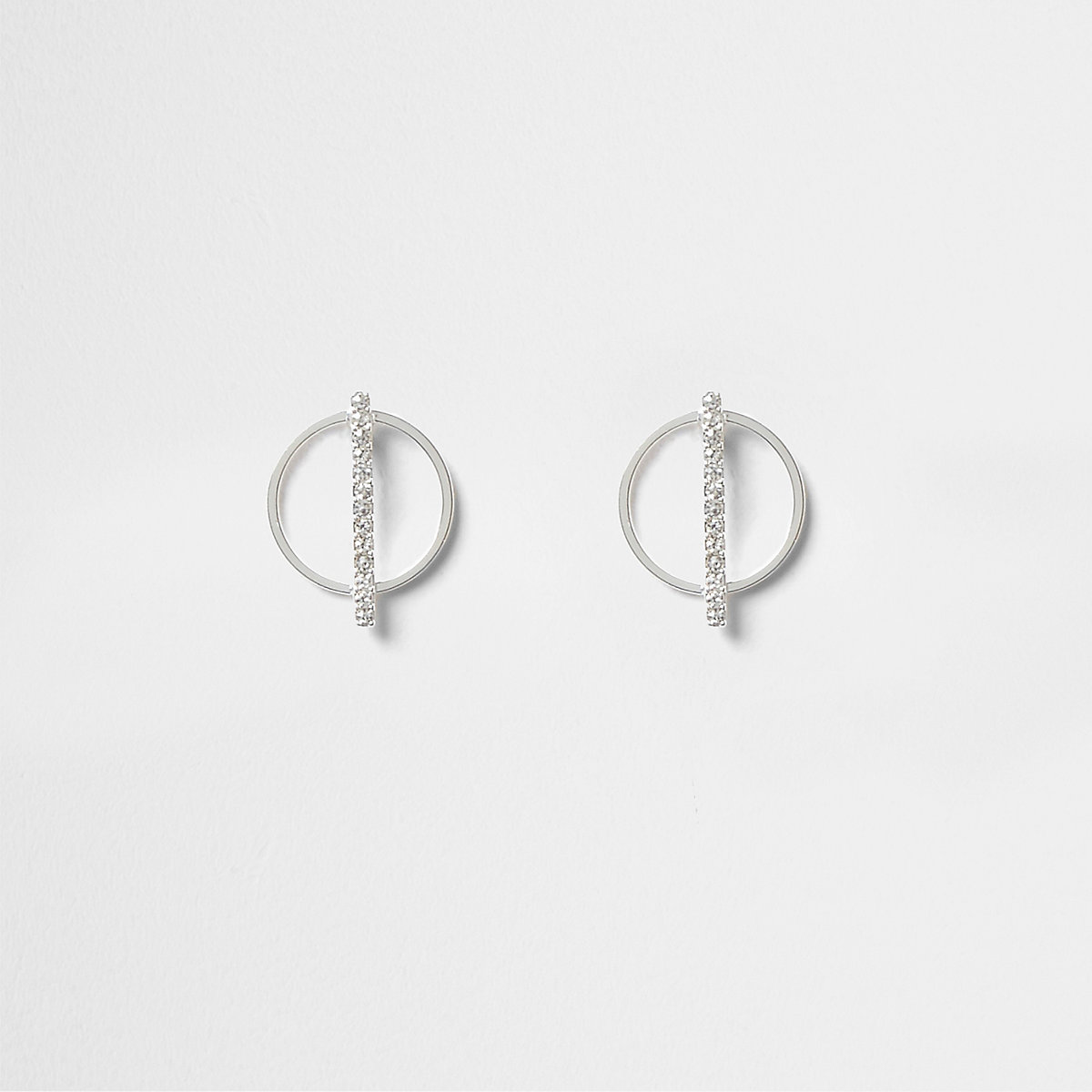 Silver tone pave circle stud earrings