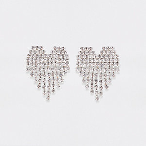 Silver tone diamante cup chain heart earrings