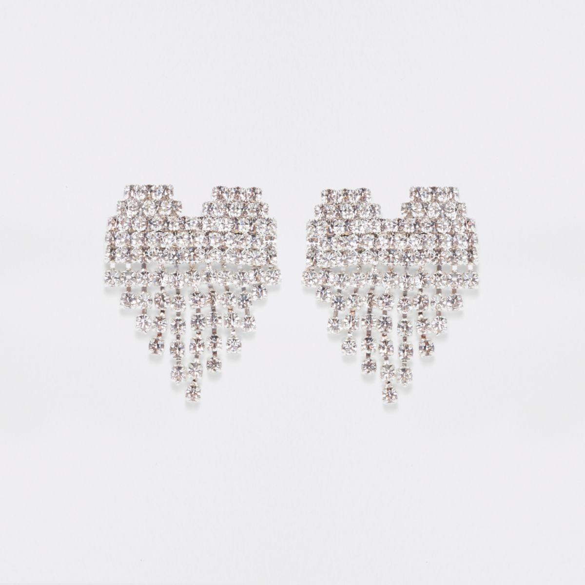 Silver tone rhinestone cup chain heart earrings