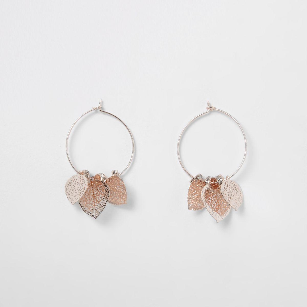 Rose gold tone filigree hoop earrings