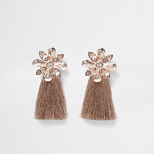 Rose gold tone flower tassel earrings