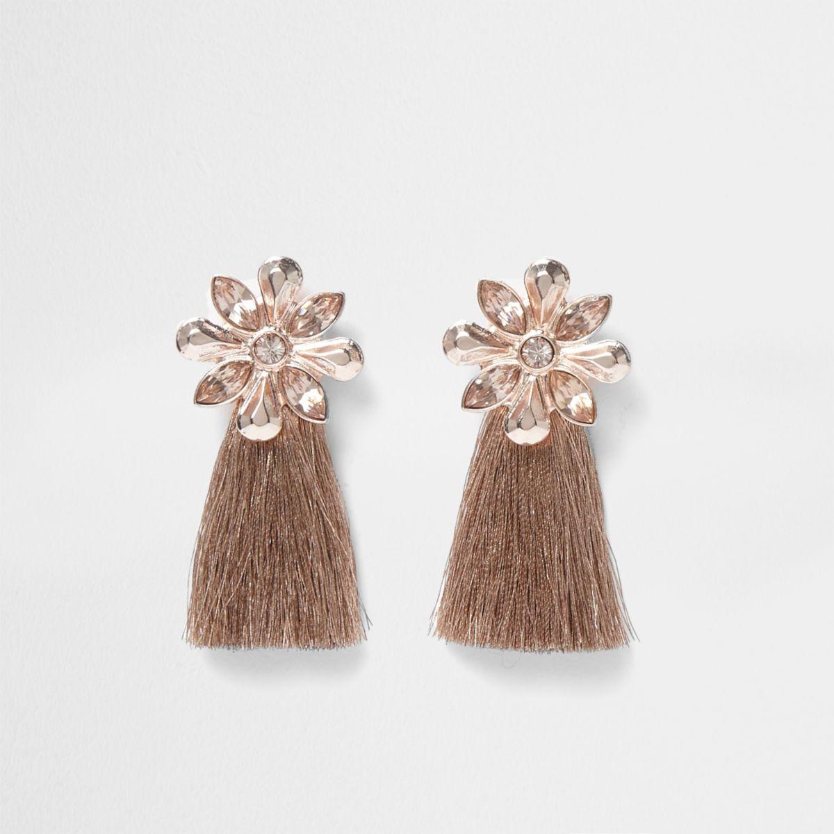 Rose gold tone flower tassel earrings